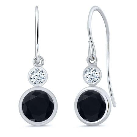 14k Round Onyx - 1.62 Ct Round Black Onyx 14K White Gold Earrings