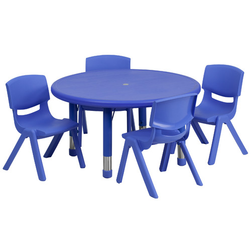 Flash Furniture 33'' Round Adjustable Plastic Activity Table Set in Multiple Colors with 4 School Stack Chairs