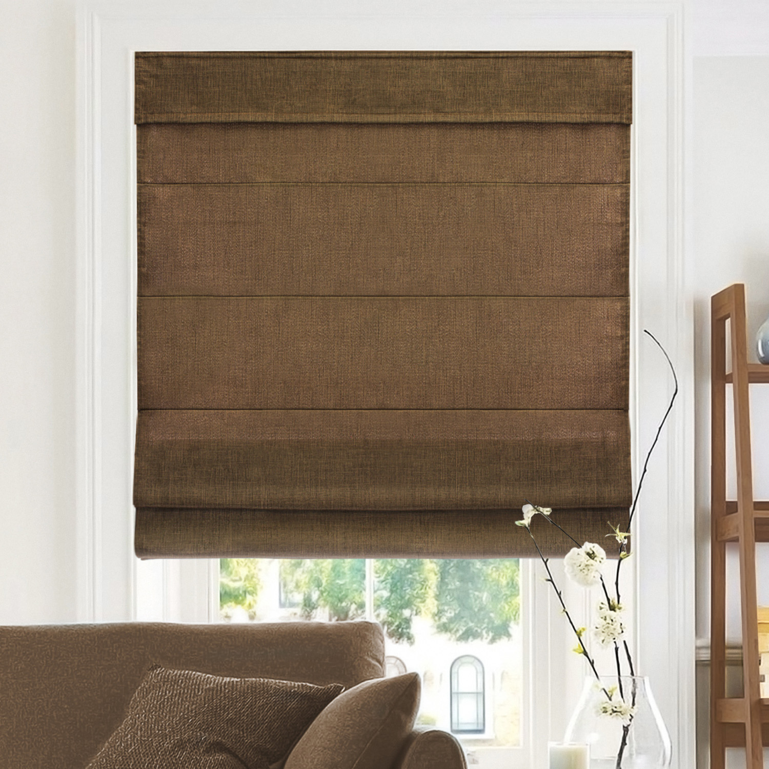 Chicology Cordless Roman Shades, Soft Fabric Window Blind, Belgian Chocolate (Privacy & Light Filtering)