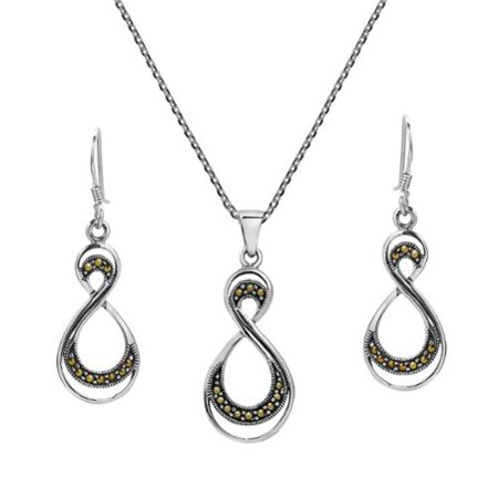 240b4053758c7 Aeravida - Aeravida Handmade Double Eternity Marcasite .925 Silver ...