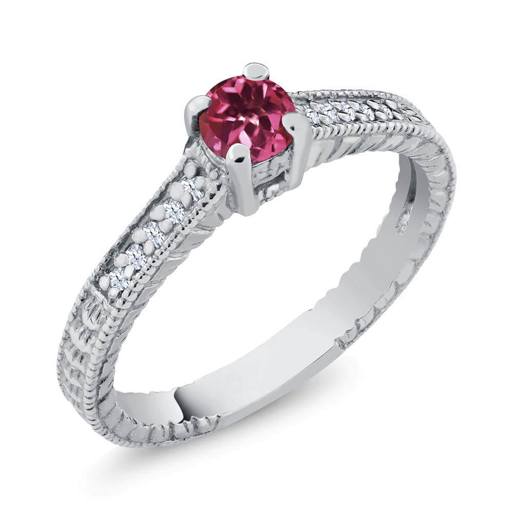0.34 Ct Round Pink Tourmaline White Topaz 14K White Gold Engagement Ring by