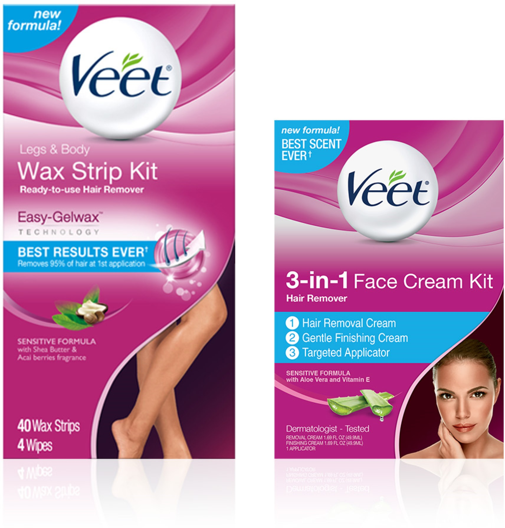 VEET Hair Remover Kit With Wax Strips For Leg & Body (40 cnt) and 3-in-1 Face Cream (2 x 1.69oz), Sensitive Formula 1 ea