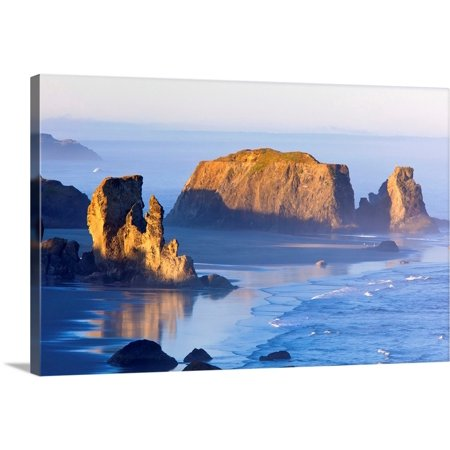 "Great BIG Canvas | ""Fog Covered Rock Formations At Bandon State Park; Oregon, USA"" Canvas Wall Art"