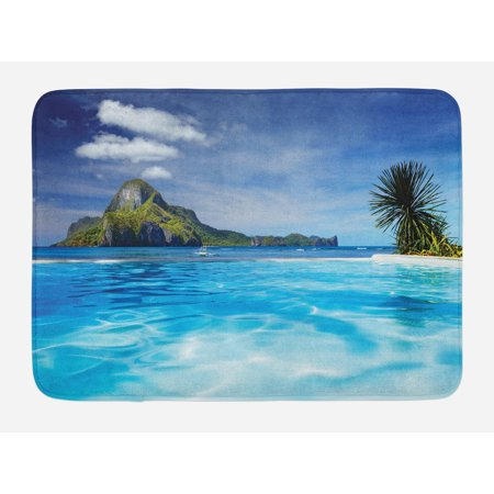 Landscape Bath Mat, Landscape with Swimming Pool and Distant Island Tropic Exotic Hawaiian Theme, Non-Slip Plush Mat Bathroom Kitchen Laundry Room Decor, 29.5 X 17.5 Inches, Turquoise Green, Ambesonne (Hawaiian Theme Decor)