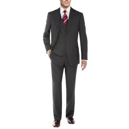 Chevy Blazer Vent - Salvatore Exte Men's Vested Suit 3 Piece 2 Button Blazer Vest Flat Front Pants Charcoal