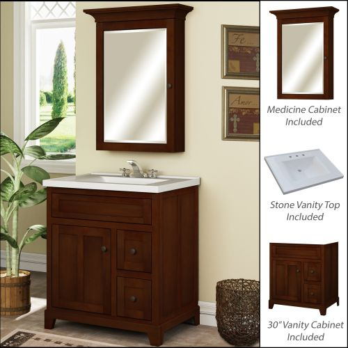 "Miseno MVGH30COM 30"" Bathroom Vanity Set - Cabinet, Stone Top and Medicine Cabinet Included"
