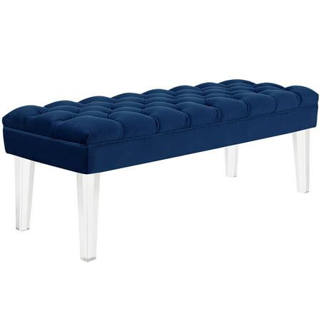 Modern Contemporary Urban Design Bedroom Living Room Bench Navy Blue Fabric Velvet