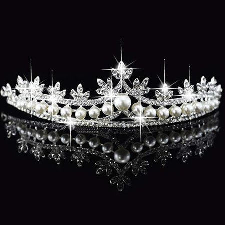 Girl12Queen Wedding Bridal Leaf Rhinestone Imitation Pearl Princess Tiara Crown Accessory (Pearl Tiara)