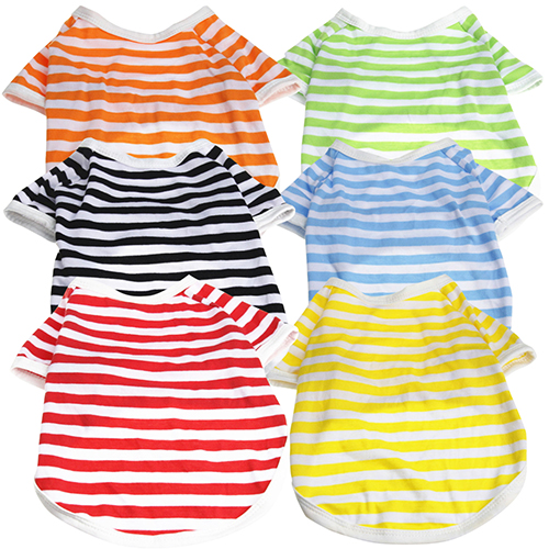 Girl12Queen Summer Pet Puppy Small Dog Cat Strip Style Casual Apparel Clothes Vest T Shirt