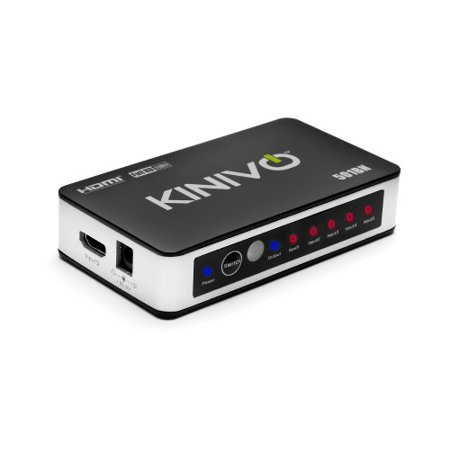 - 5 Port High Speed HDMI Switch w/ IR Wireless Remote & AC Power Adapter by Kinivo