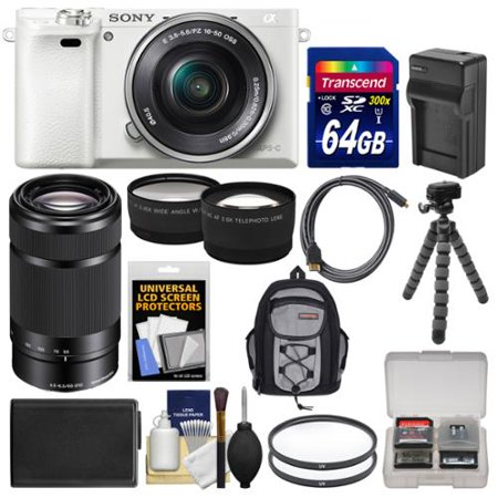 Sony Alpha A6000 Wi Fi Digital Camera   16 50Mm Lens  White  With 55 210Mm Lens   64Gb Card   Case   Battery Charger   Tripod   Kit