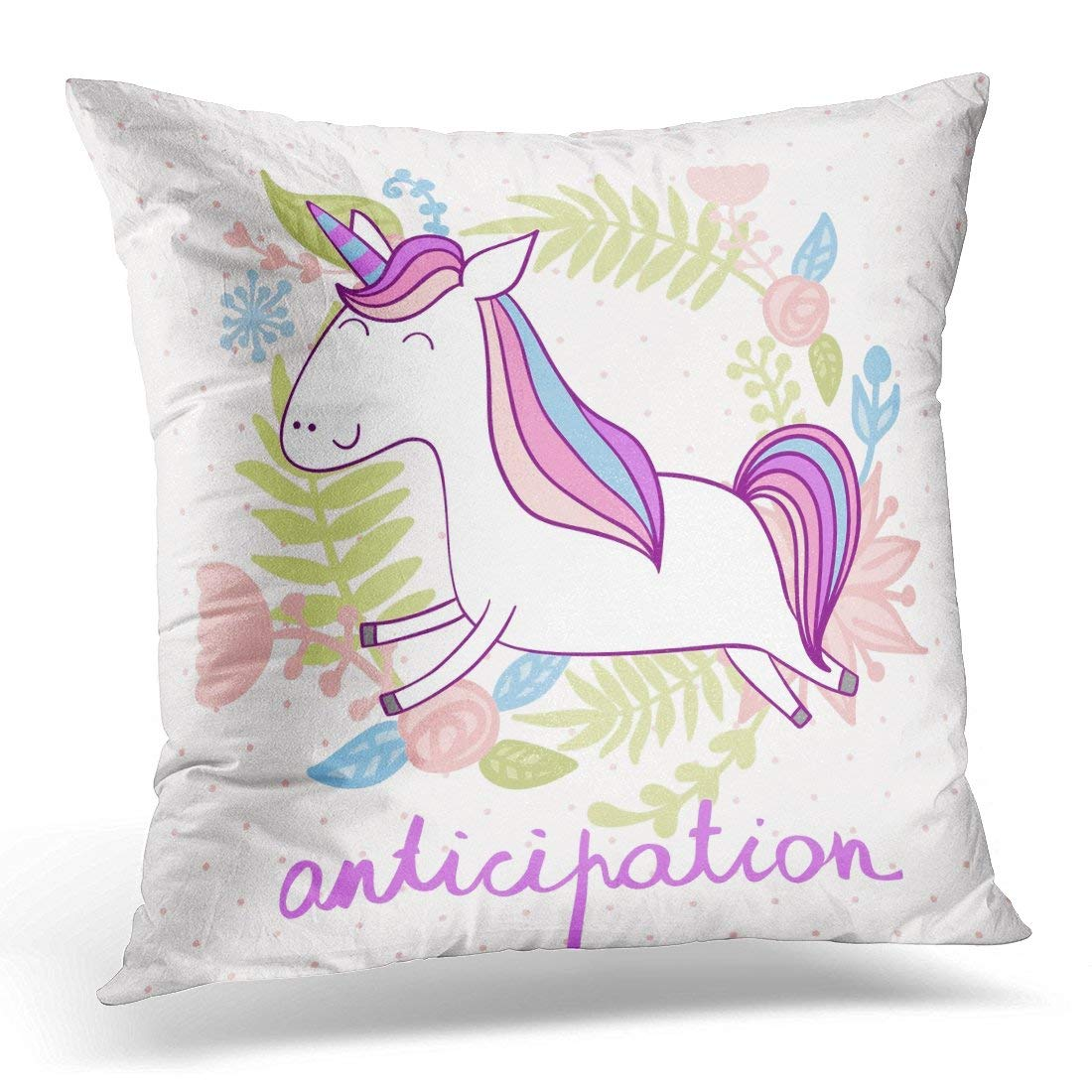 CMFUN Pink Animal Magic Cute Unicorn with Flowers White Anticipation Pillow Case Pillow Cover 20x20 inch