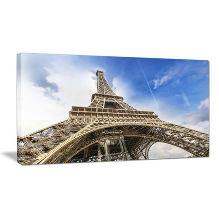 Design Art Fantastic View of Paris Eiffel Tower From Ground Cityscape Photographic Print on Wrapped Canvas