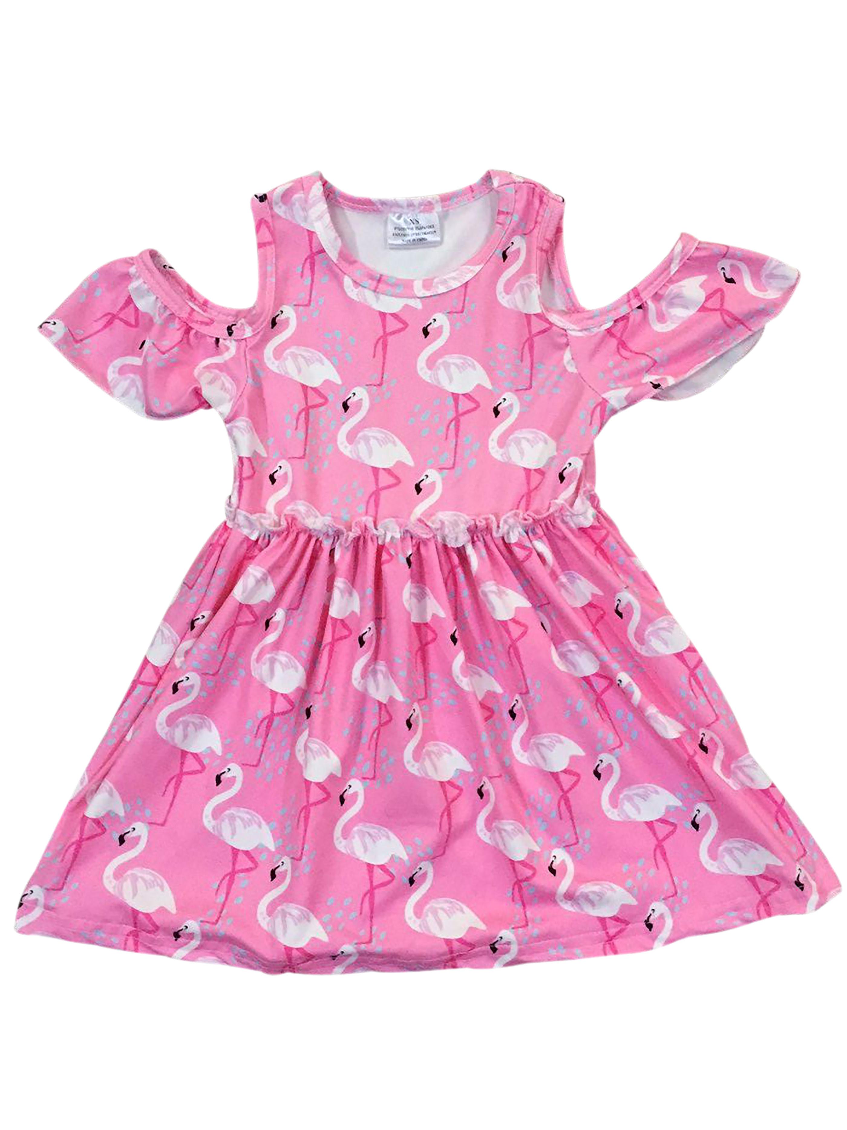 Sunny Fashion Girls Dress Flamingos Lotus Print Wave Waist Bow Tie Size 6-12