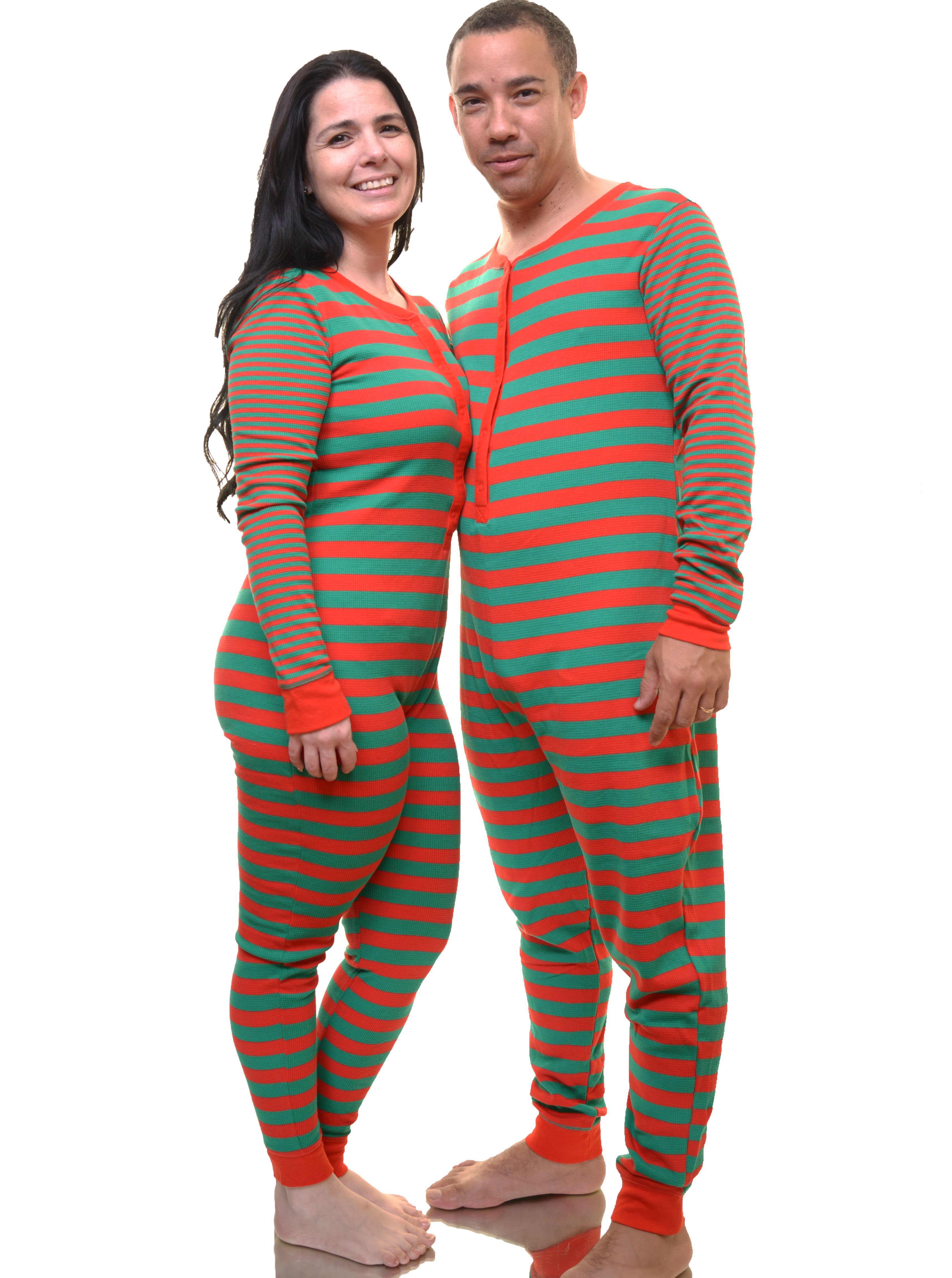 Christmas Jumpsuit Pajamas.Christmas Stripes Unisex Pajama Sleep Jumpsuit Size Xs