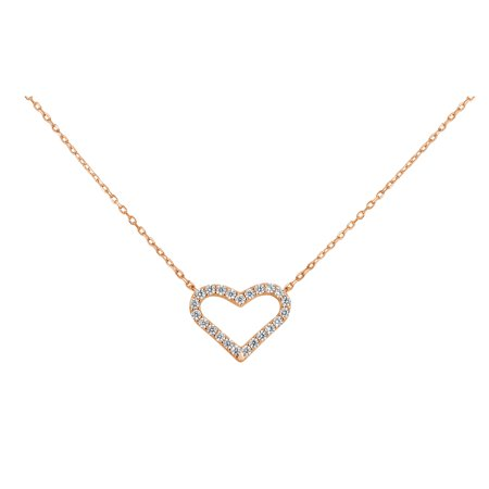 18k Rose Gold Over Sterling Silver White Cubic Zirconia Open Heart Necklace 18 Inches