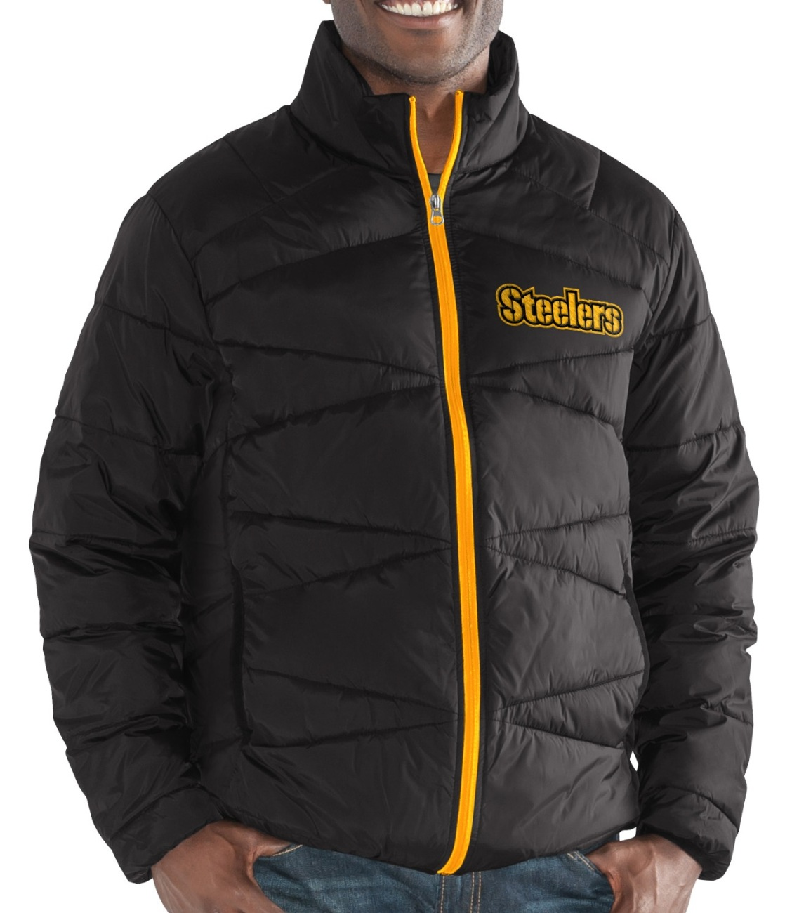 """Pittsburgh Steelers Men's NFL G-III """"Blitz"""" F Zip Packable Quilted Jacket w Bag by G-III Sports"""
