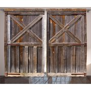 Rustic Curtains 2 Panels Set Old Wooden Barn Door Of Farmhouse Oak Countryside Village Board