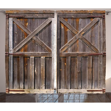 Rustic Curtains 2 Panels Set Old Wooden Barn Door Of Farmhouse Oak Countryside Village Board Rural