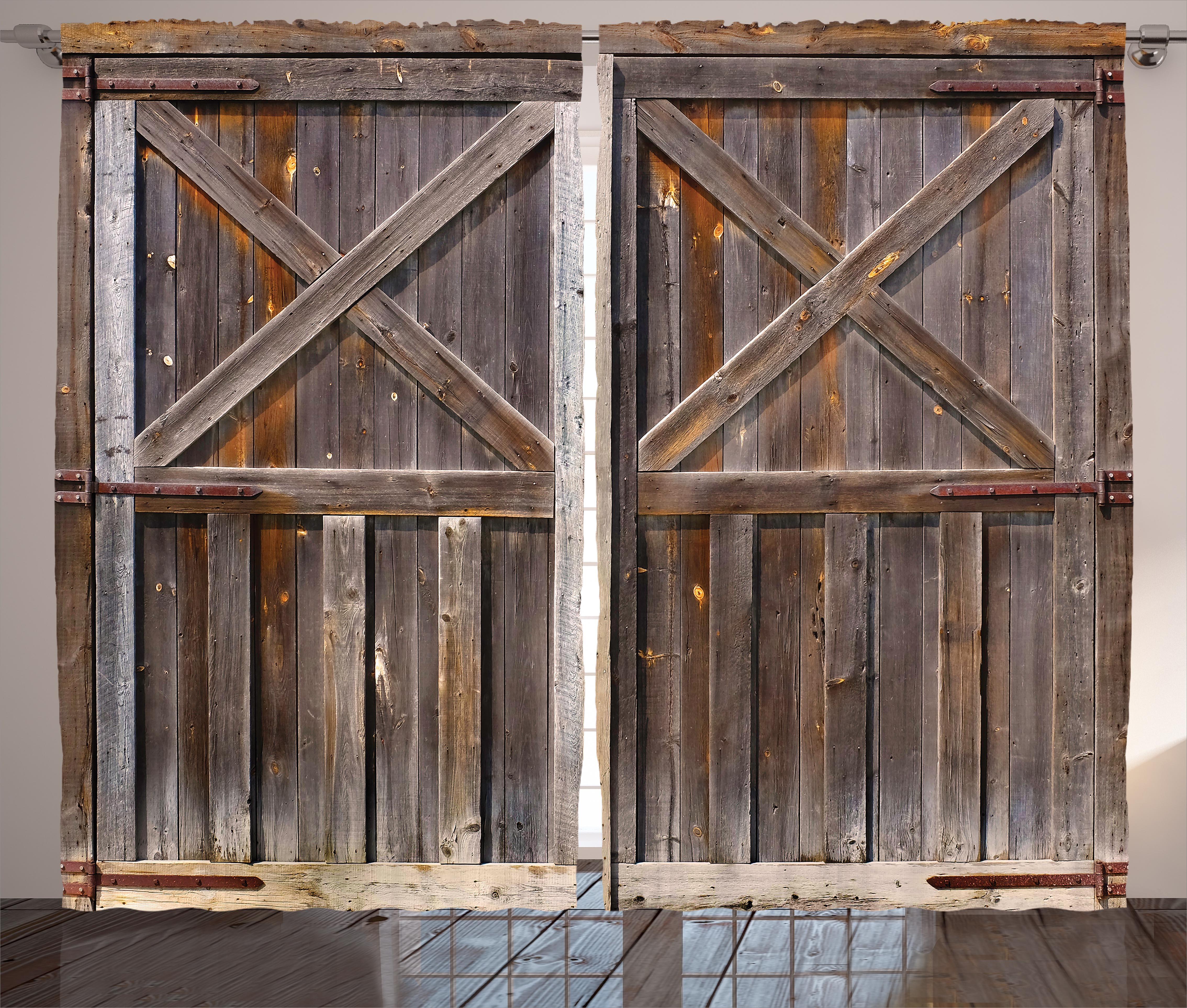 Nice Rustic Curtains 2 Panels Set, Old Wooden Barn Door Of Farmhouse Oak  Countryside Village Board