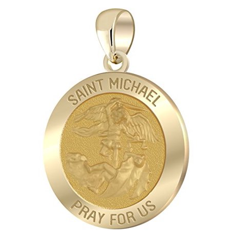 916in hollow 14k yellow gold st saint michael pendant charm 916in hollow 14k yellow gold st saint michael pendant charm necklace mozeypictures Image collections