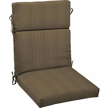 Better homes and gardens outdoor dining chair cushion tan stria for Better homes and gardens patio furniture cushions