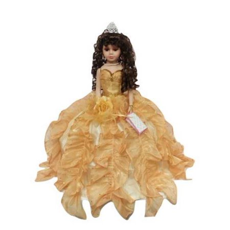Porcelain Quinceanera Umbrella Doll (Quince Anos) Gold Ceremony Centerpiece Doll 18