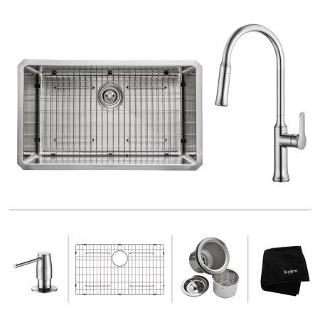 Undermount Stainless Steel Kitchen Sink (KRAUS 30 Inch Undermount Single Bowl 16 Gauge Stainless Steel Kitchen Sink with Nola Pull Down Kitchen Faucet & Soap Dispenser in Chrome )