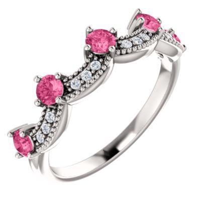 14k White Gold Pink Tourmaline Pink Tourmaline .06 Dwt Diamond Crown Ring -- Sz 6.5 by