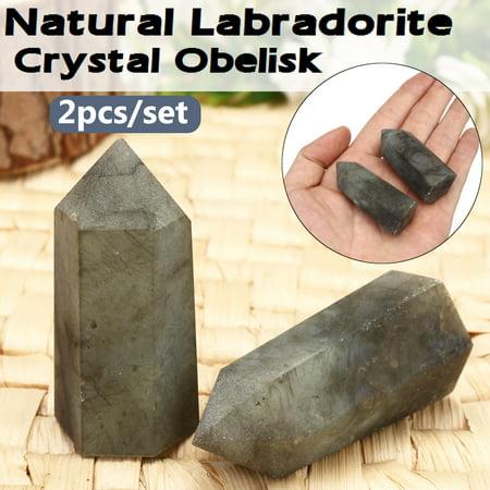 2Pcs Natural Labradorite Crystal Quartz Obelisk Stone Point Wand Engry Healing