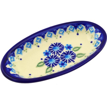Pottery Leaf Dish - Polish Pottery 6½-inch Condiment Dish (Aster Patches Theme) Hand Painted in Boleslawiec, Poland + Certificate of Authenticity