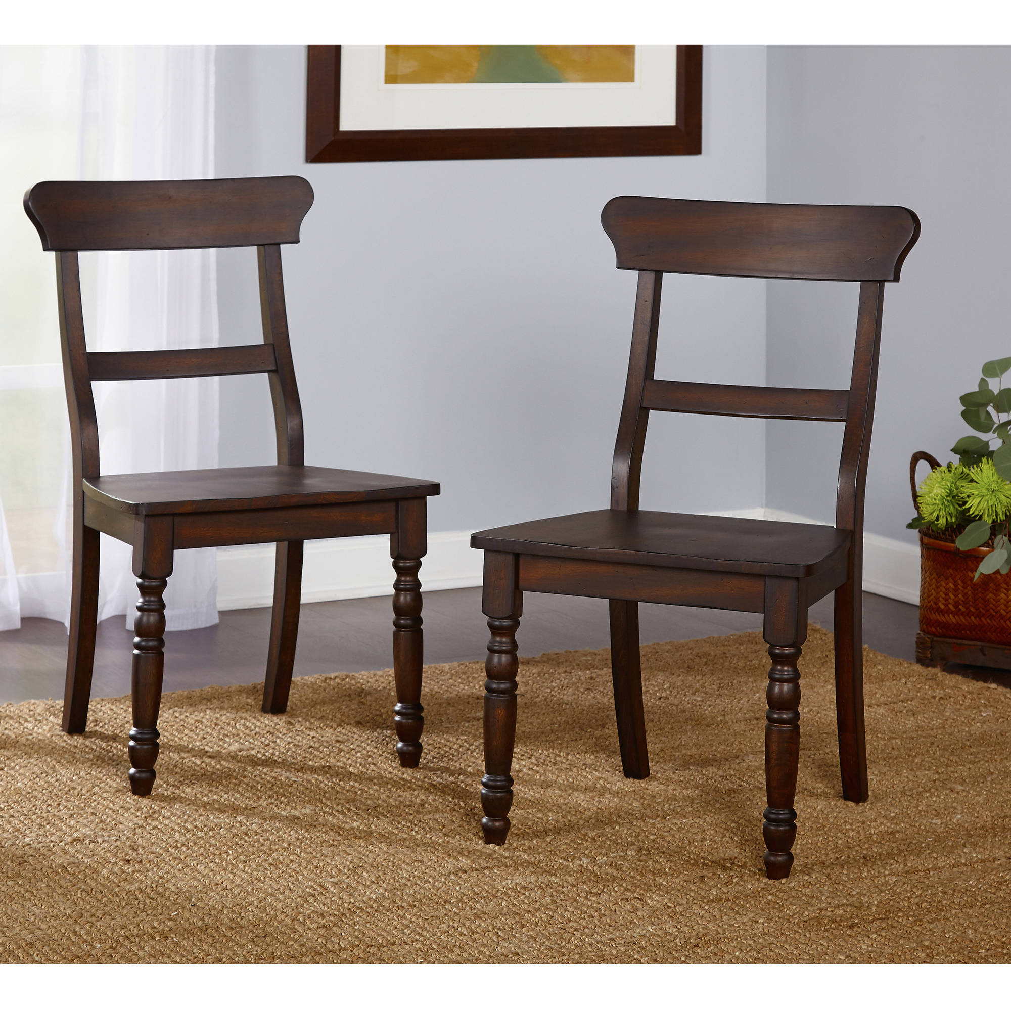 Muses Dining Chair, Set of 2, Weathered Walnut - Walmart.com