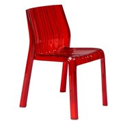 LeisureMod  Denville Transparent Red Plastic Dining Accent Chair
