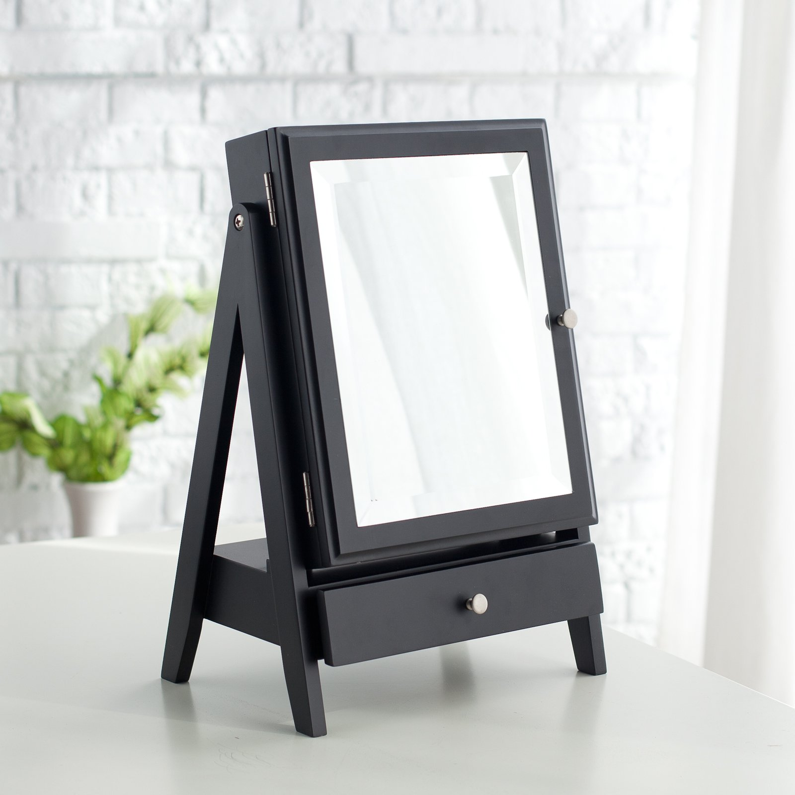 easel table top jewelry box w linen lining black 11w