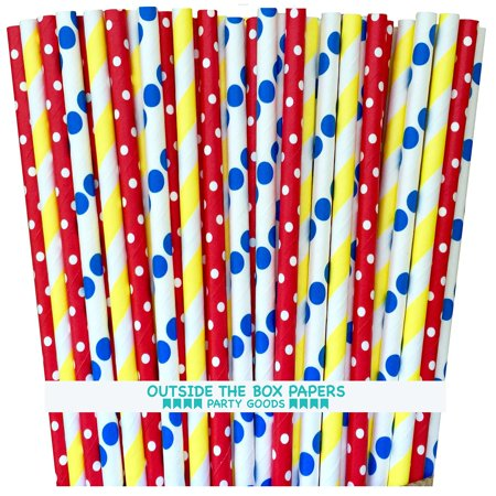 Outside the Box Papers Circus Theme Polka Dot and Stripe Paper Straws 7.75 Inches 75 Pack Red, Blue, Yellow, White (Circus Theme)