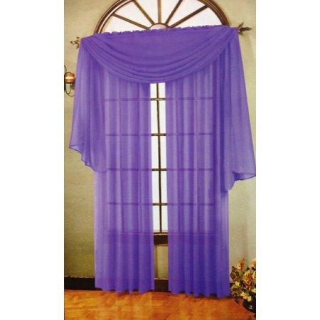 3 Piece Purple Sheer Voile Curtain Panel Set: 2 Purple Panels and 1 Scarf..., By WPM Ship from US