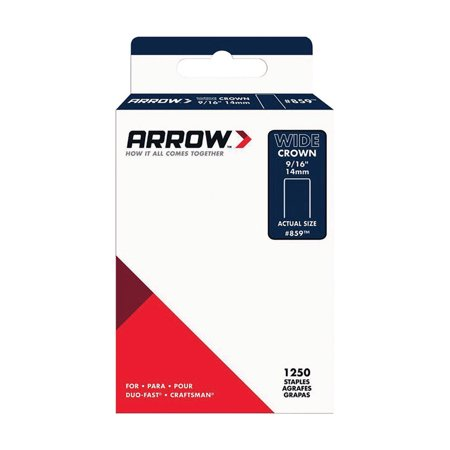 Arrow Fastener 859SP #859 Wide Crown Standard Staples, Galvanized Steel, Grey, 9/16