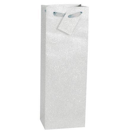 Glitter Wine Bag, 14.5 x 4.75 in, Silver, 1ct - Wine Bag