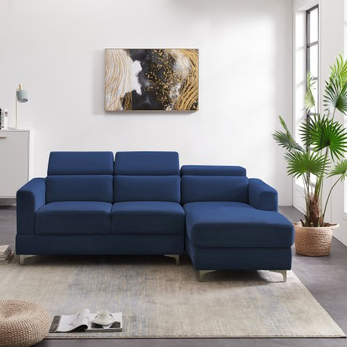 Relax Lounge Sectional Sofa Right Hand Facing Navy Blue Velvet Walmart Com Walmart Com