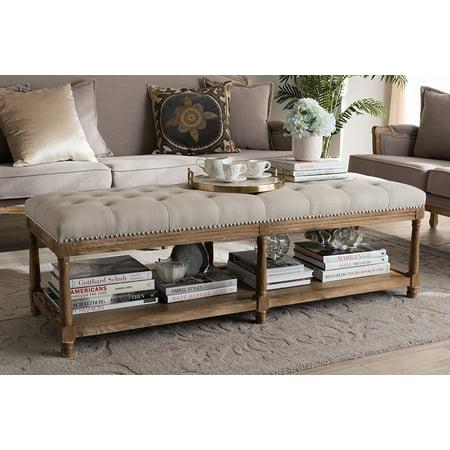 Baxton Studio Celeste Weathered Oak Beige Linen Upholstered Ottoman