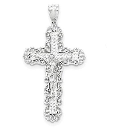 .925 Sterling Silver Filigree Cross INRI Crucifix Charm Pendant Sterling Silver Filigree Heart Charm