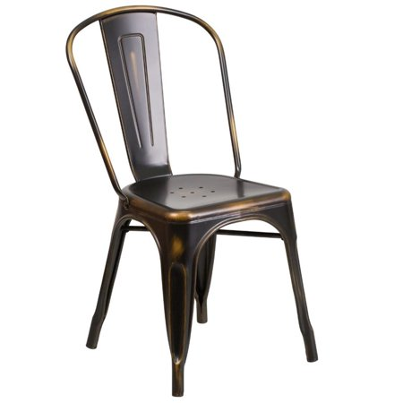 Bowery Hill Metal Dining Chair in Distressed Copper