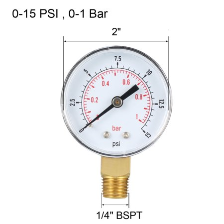 "Pressure Gauge , 0-15 PSI/0-1 Bar , 2"" Dial Display ,1/4"" BSPT Male Bottom Mount - image 1 of 4"