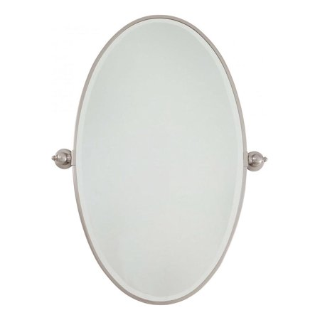 Brushed Nickel Extra Large Oval Pivoting Bathroom Mirror