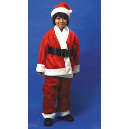 Deluxe Boys 4-Piece Set Plush Santa Suit Christmas Costume #C1683