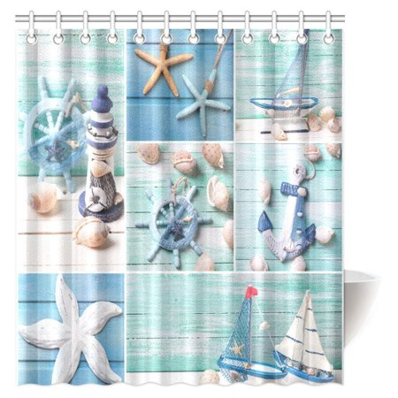 Marina Satin Shower Curtain - MYPOP Seashells on Wooden Planks Decorations Shower Curtain, Decorative Lighthouse, Sailing Boats and Marine Items on Wooden Background Fabric Bathroom Decor Set with Hooks, 66 X 72 Inches