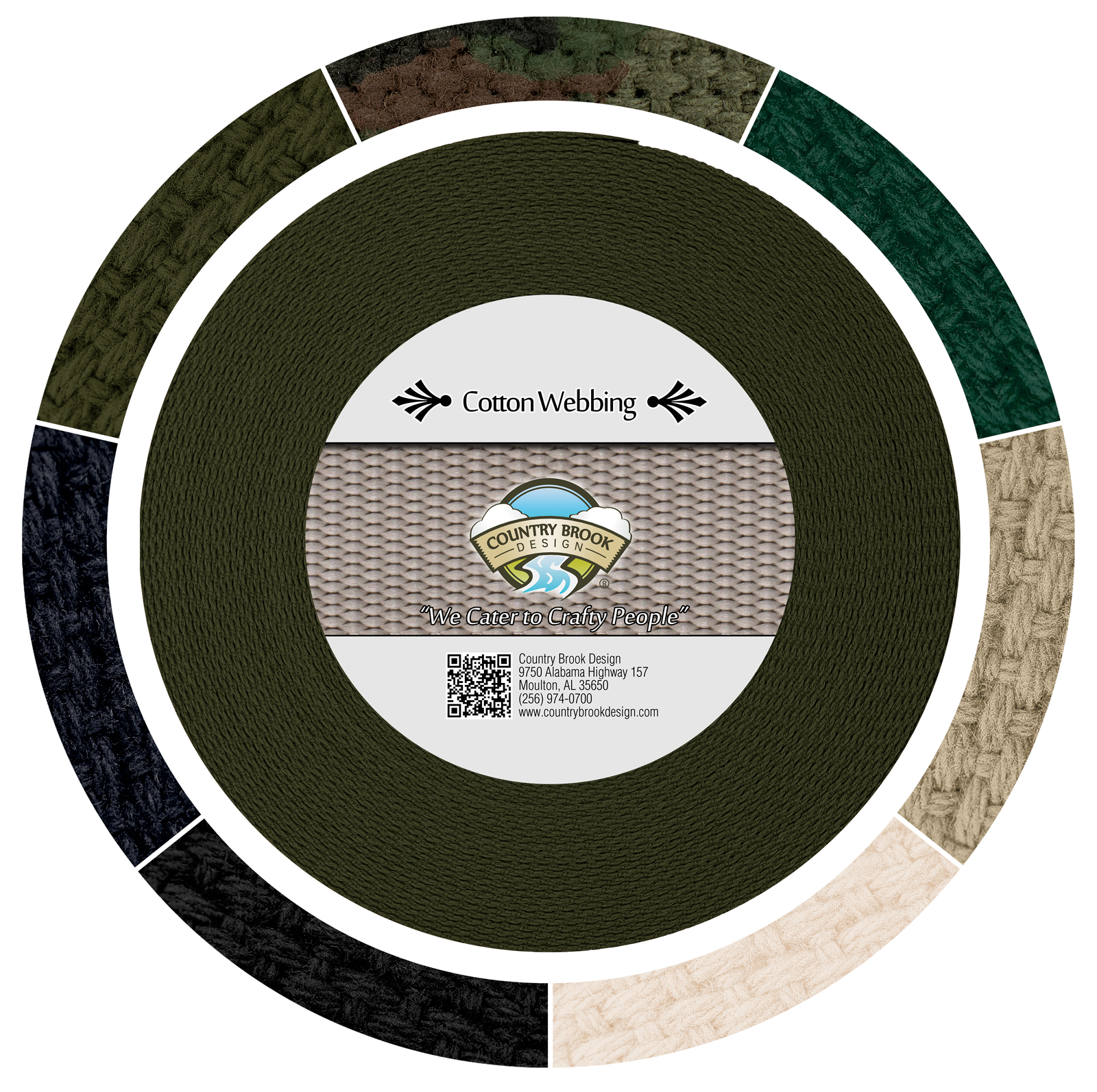 Country Brook Design® 1 1/4 Inch Olive Drab Green Heavy Cotton Webbing