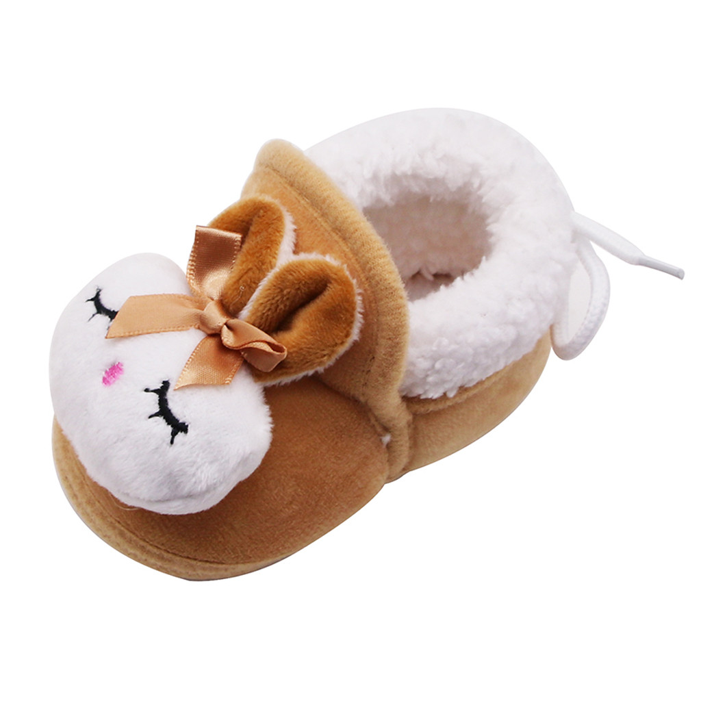UK KIDS GIRLS WINTER LOAFERS FUR WARM CASUAL TODDLER INFANT SLIPPERS SHOES SIZE