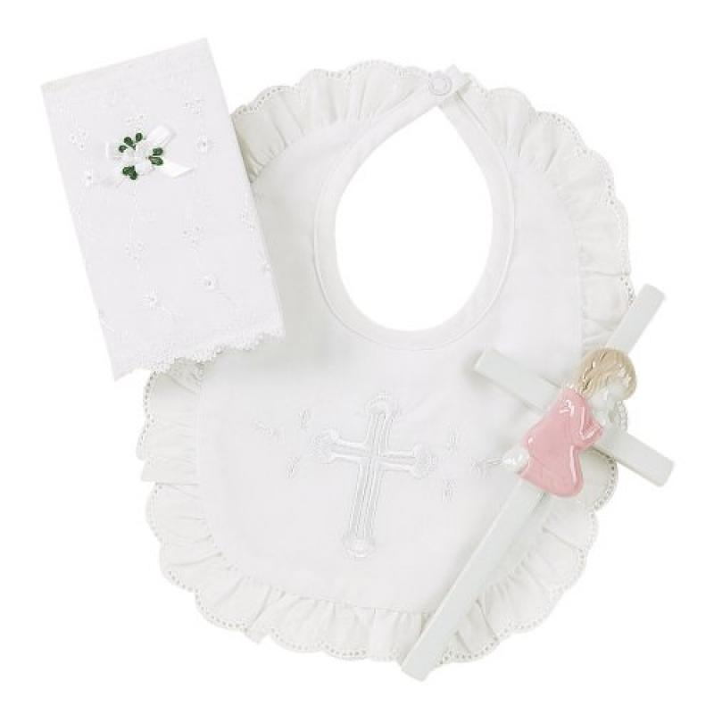 Elegant Baby Girl's Christening Gift Set Includes 100% Cotton Bib, Wall Hanging Porcelain Cross & Bible. Gift... by Elegant Baby