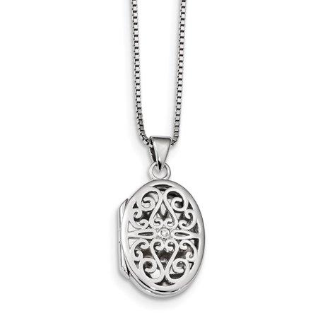 Mia Diamonds Solid Sterling Silver White Ice .01ct Diamond Oval Locket Necklace (Ice Diamond Necklace)